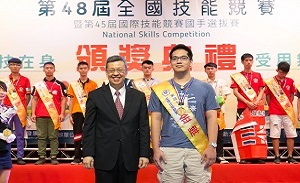 Zhuang Yi (莊詠鈞) of Department of Electronic Engineering won the Gold Medal  in the Industrial Electronic Group of 48th National Skills Competition《2018.08.10》