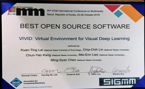 Professor Kuan-Ting Lai won the ACM Multimeida 2018 Best Open Source Software Award《2018.10.26》